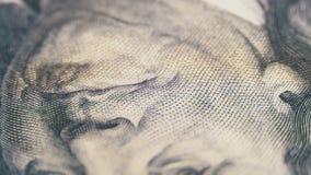 O retrato do presidente Benjamin Franklin em cem notas de dólar gerencie vídeos de arquivo