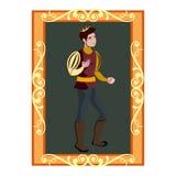 O retrato do quadro dourado do príncipe Charming In ilustração royalty free