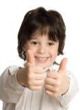 O retrato do rapaz pequeno com dedo grande imagens de stock