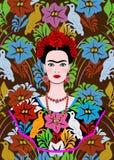 O retrato do vetor de Frida Kahlo, mulher mexicana bonita nova com um penteado tradicional, mexicano crafts a joia e o vestido Imagem de Stock