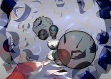 O retrato estranho de uma mulher sem olhos, o mundo é feito do vidro Imagem de Stock