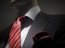O revestimento cinzento listrado com vermelho listrou o laço e o handk Imagens de Stock Royalty Free
