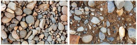 O rio balança a colagem de pedra do fundo do solo Fotos de Stock