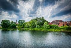 O rio de Nashua, em Nashua, New Hampshire Fotografia de Stock