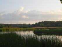 O rio de Oredezh e seus bancos no por do sol Fotos de Stock Royalty Free