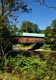 O rio de Saxton, VT: Hall Covered Bridge Foto de Stock Royalty Free
