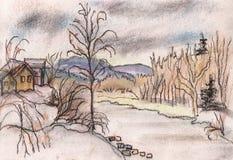 O rio em uma cidade Itaka ilustração royalty free