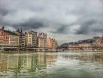 O rio Saone cidade velha de Lyon, Lyon, França Foto de Stock Royalty Free