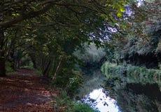 O rio Stort em Harlow, em Essex, e no trajeto do pé imagem de stock