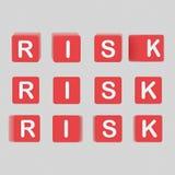 O risco rotula cubos ilustração 3D Foto de Stock Royalty Free