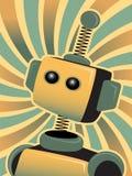 O robô azul dourado olha acima swirly colorido Imagens de Stock Royalty Free