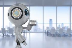 O robô com lata pode telefonar ilustração royalty free