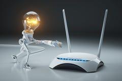 O robô da ampola dos desenhos animados une o cabo de LAN ao roteador de Wi-Fi interno Imagens de Stock
