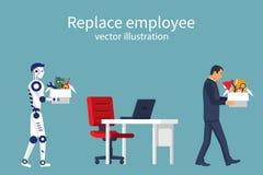 O robô da inteligência artificial substitui no trabalho do homem ilustração stock