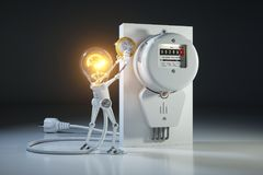 O robô da luz de bulbo do personagem de banda desenhada paga a utilidade das tarifas no kilow Fotos de Stock Royalty Free