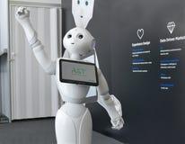 O robô da pimenta de Softbank fornece o auxílio na feira da automatização fotos de stock