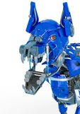 O robô do cão de protetor é um sistema de segurança em um fundo branco ilustração stock