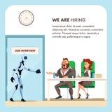 O robô e os povos fazem a entrevista de trabalho da conversação ilustração do vetor