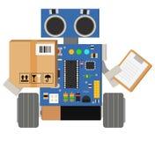 O robô engraçado e bonito do serviço de entrega entrega seus pacotes Fotografia de Stock Royalty Free