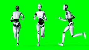 O robô fêmea do humanoid futurista está correndo Movimento e reflexões realísticos metragem da tela do verde 4K