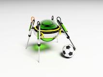 O robô joga o futebol Imagem de Stock Royalty Free