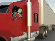 o robô no carro 3d rende ilustração do vetor