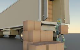 O robô retro com caixas de transporte carrega no caminhão rende 3d imagens de stock