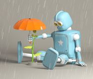 O robô retro protege o broto, planta, 3d, rende ilustração stock
