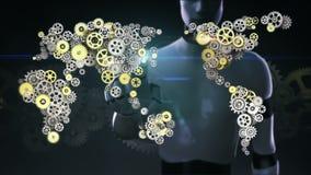 O robô, cyborg tocou na tela, engrenagens douradas de aço que fazem o mapa do mundo global Inteligência artificial Tecnologia glo