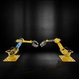 o robô 3D arma-se em um fundo metálico do grunge Foto de Stock