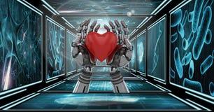 o robô 3D entrega guardar o coração no corredor 3D Foto de Stock