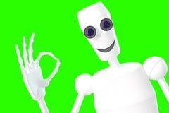 O robô mostra a APROVAÇÃO do gesto Imagens de Stock Royalty Free