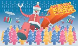 O rob? Santa e os presentes mec?nicos do voo est?o vindo ? cidade, com fundos diferentes das cores Composi??o horizontal ilustração royalty free