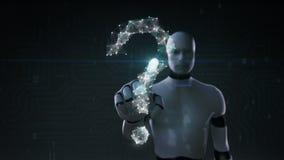 O robô, tela tocante do cyborg, linhas de Digitas cria a forma do ponto de interrogação, conceito digital