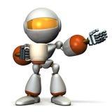 O robô tem um cumprimento ao ter uma xícara de café em uma mão Imagem de Stock Royalty Free