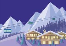 Ośrodek narciarski noc Obrazy Royalty Free