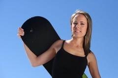 ośrodek narty snowboarder dziewczyna Zdjęcie Stock
