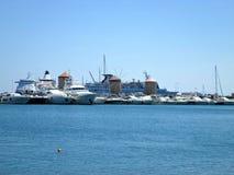 O Rodes, porto de Mandraki Fotografia de Stock
