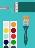 O rolo de pintura da escova utiliza ferramentas o arco-íris Fotografia de Stock
