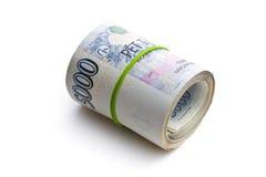 O rolo do dinheiro checo Fotos de Stock Royalty Free