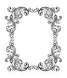 O rolo vitoriano barroco do ornamento floral do monograma da beira do quadro do vintage gravou o vetor caligráfico da tatuagem re Imagem de Stock