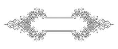 O rolo vitoriano barroco do ornamento floral do monograma da beira do quadro do vintage gravou o vetor caligráfico da tatuagem re Fotos de Stock