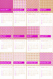 O rosa chocante e a rosa de sharon coloriram o calendário geométrico 2016 dos testes padrões Imagem de Stock Royalty Free