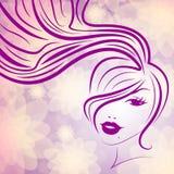O rosa da mulher representam o cuidado facial e atrativo ilustração do vetor