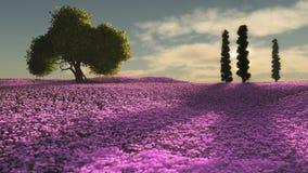 O rosa floresce o mar, 3d CG ilustração do vetor