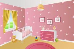 O rosa interior moderno da sala do bebê brinca a ilustração branca da janela da cama Imagem de Stock Royalty Free