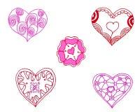 O rosa pintou corações ajustados Imagens de Stock Royalty Free