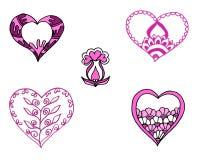 O rosa pintou corações ajustados Fotos de Stock