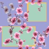 O rosa sem emenda do teste padrão da aquarela floresce com figuras geométricas em um fundo violeta ilustração royalty free