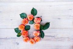 O, roses fleurissent l'alphabet sur le fond en bois gris, à plat configuration Images stock